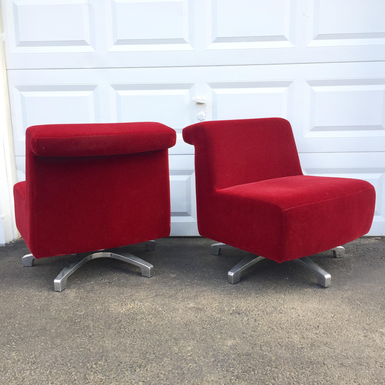 Modern Swivel Slipper Chairs By Gunlocke   A Pair   Image 4 Of 11