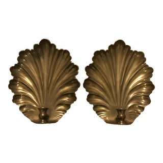 Large Mottahedeh Brass Shell Candle Sconces - a Pair For Sale