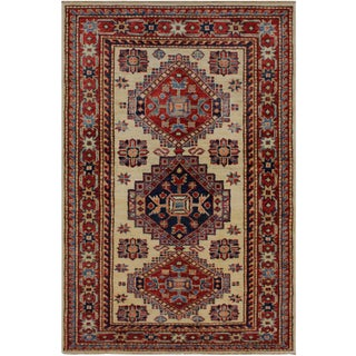 Tribal Rustic Tracie Ivory/Red Hand-Knotted Wool Rug - 2'8 X 4'0 For Sale