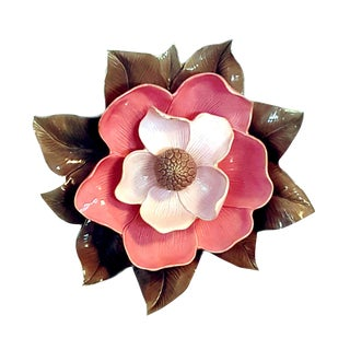 Global Views Italian Handcrafted Porcelain Magnolia Wall Sculpture For Sale