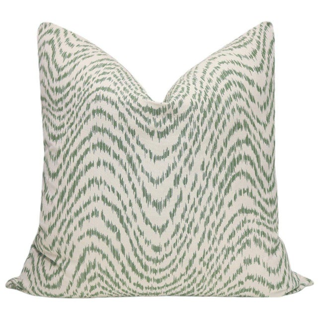 Pair of beautiful custom-made woven flamestich pillows in a fern green and neutral colorway. Meticulously handcrafted with...