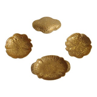 1960s Mid Century Modern Weeping Gold Pottery Collection - 4 Pieces For Sale