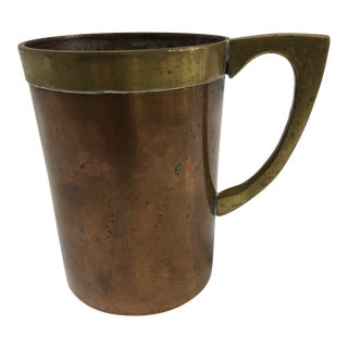 Solid Copper Brass Handle Mug For Sale