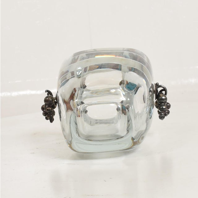Glass Beautiful Strombergshyttan Thick Glass Vase With Silver Grapevine Accents For Sale - Image 7 of 10