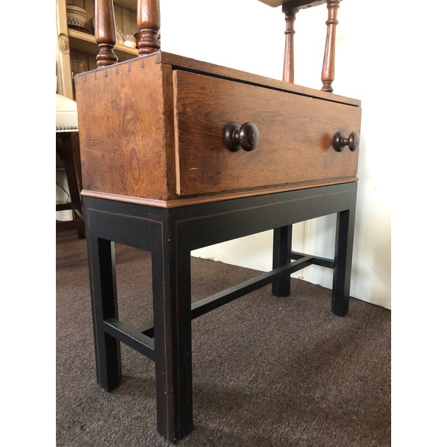 Early 20th Century Antique Pine Etagere on Base With Drawer For Sale - Image 5 of 6