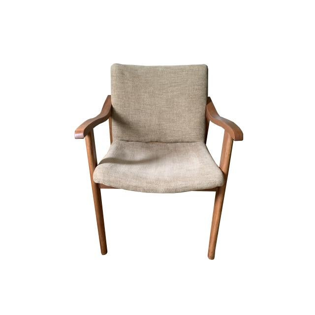 Restored mid century arm chairs. Chevron pattern tan fabric. Wear consistent with light use following restoration. No...