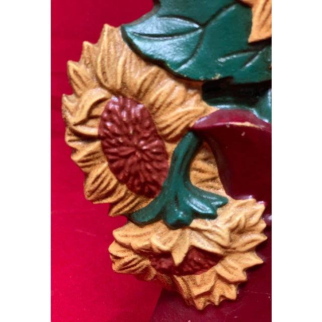 Red Vintage Mid Century Hand Painted Sunflowers Cast Iron Door Stop For Sale - Image 8 of 12