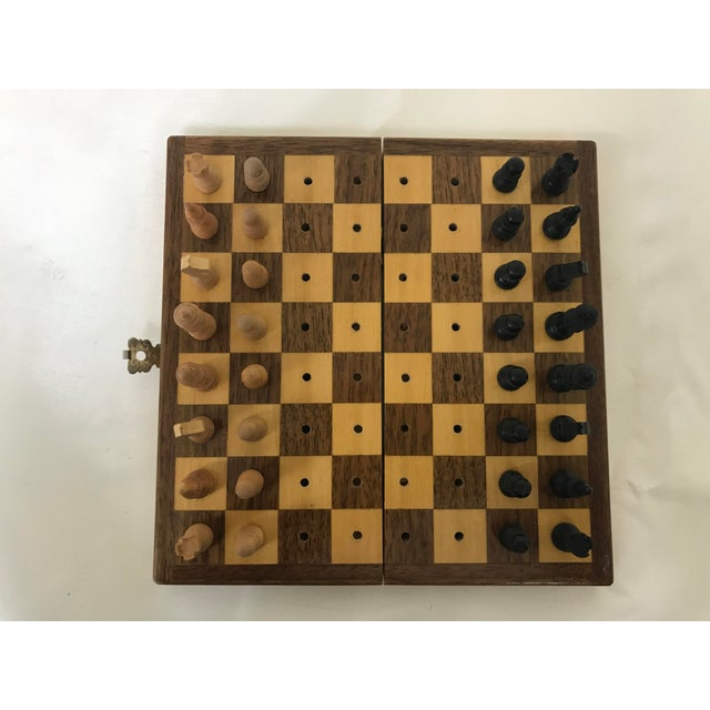 Rustic Vintage Wood Miniature Traveling Chess Set For Sale - Image 3 of 9