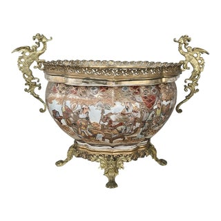 19th Century Satsuma Gilt Bronze-Mounted Jardiniere For Sale