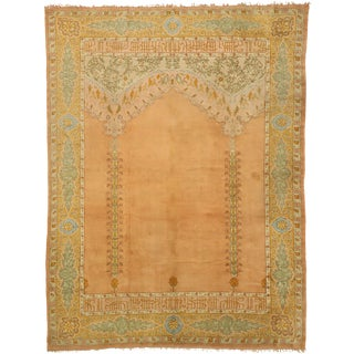 Late 19th Century Antique Turkish Oushak Rug - 10'09 X 13'03 For Sale