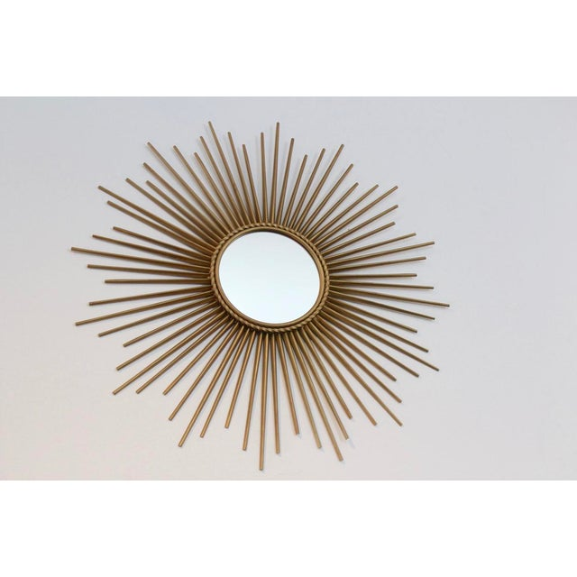 Glass Elegant Gilded Metal Framed Sunburst Mirror by Chaty Vallauris, France 1960s For Sale - Image 7 of 7