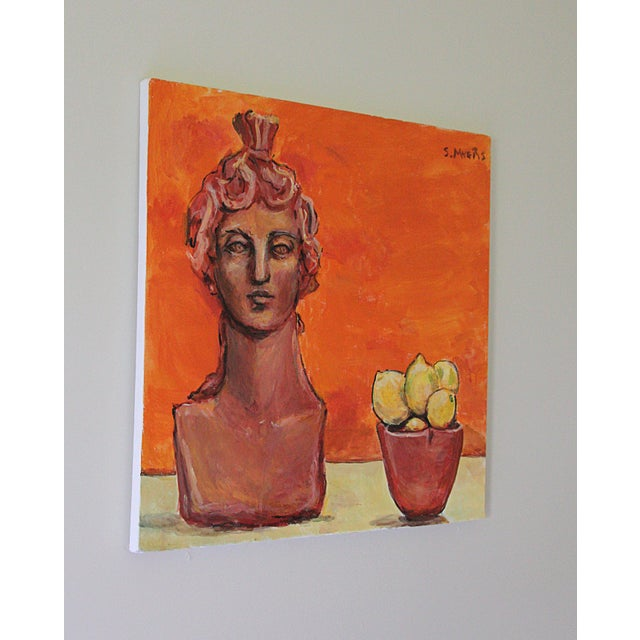 "Contemporary 2016 Sarah Myers ""Sculpture and Lemons"" Original Acrylic on Canvas Painting For Sale - Image 3 of 6"