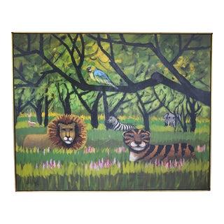 Mid Century Original Lee Reynolds Tiger, Lion, Zebra Elephant Oil on Canvas For Sale