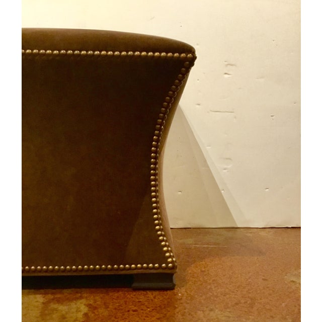 2010s Modern Ambella Home Cinched Brown Velvet Hassock For Sale - Image 5 of 6