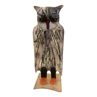 Handblown Glass Owl Sculpture by Glashutte Alte Kirche Lohberg For Sale