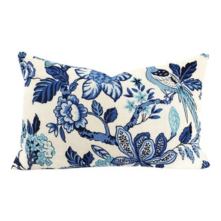 """F. Schumacher Huntington Gardens in Bleu Marine Lumbar Pillow Cover - 16"""" X 26"""" Blue and Cream Floral Large Rectangle Cushion Case For Sale"""