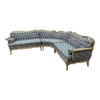 Vintage Hollywood French Curved Sectional For Sale