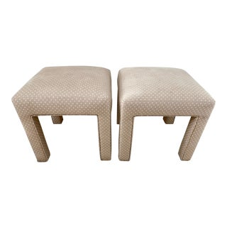Late 20th Century Upholstered Parsons Style Bench Ottomans - a Pair For Sale