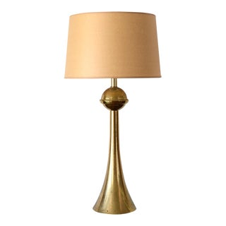 Mid Century Space Age Brass Tulip and Sphere Table Lamp For Sale