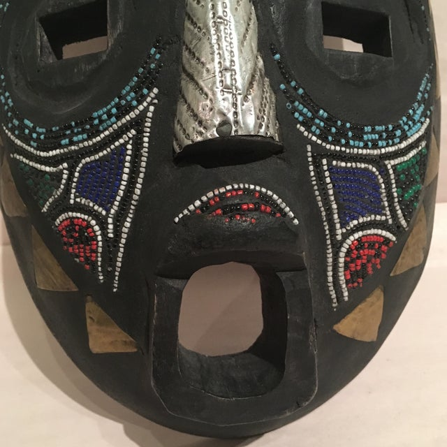 Beaded Mask Wall Art For Sale - Image 5 of 11