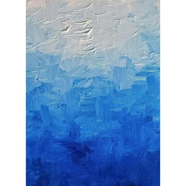 PERSPECTIVES: Blue is a modern abstract oil painting on canvas. This graduated impasto oil is minimalist in color: blue...