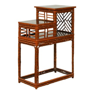 Vintage Lacquered Chinese Tiered Bamboo Lamp Table with Geometric Motifs For Sale