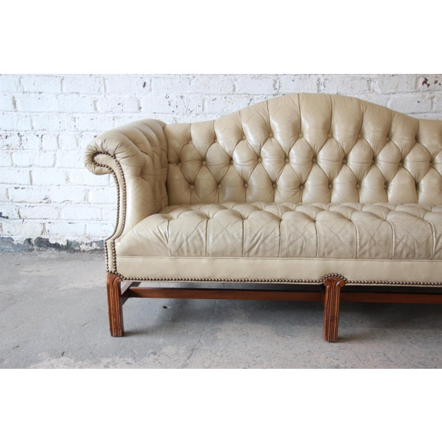 Sophisticated Vintage Tufted Tan Leather Chesterfield Sofa Decaso