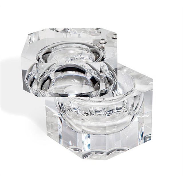 Clear Acrylic with hinged lid for ice or chocolates. Beautiful as display object and very heavy as this is solid lucite.