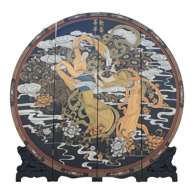 Art Deco Oriental Round Carved Base/ Detailed Room Dividing Screen For Sale