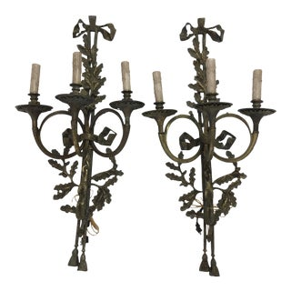 French Style Verde Bronze Sconces - A Pair