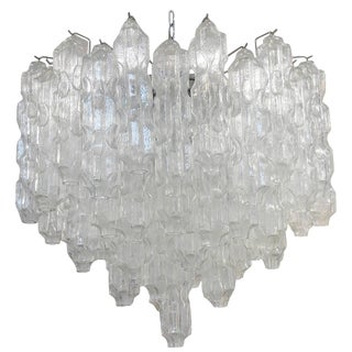 Large 1960s Chandelier with Abstract Sculptural Glass For Sale