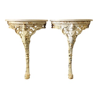 Neo Classic Wall Demi-Lune Tables - a Pair For Sale