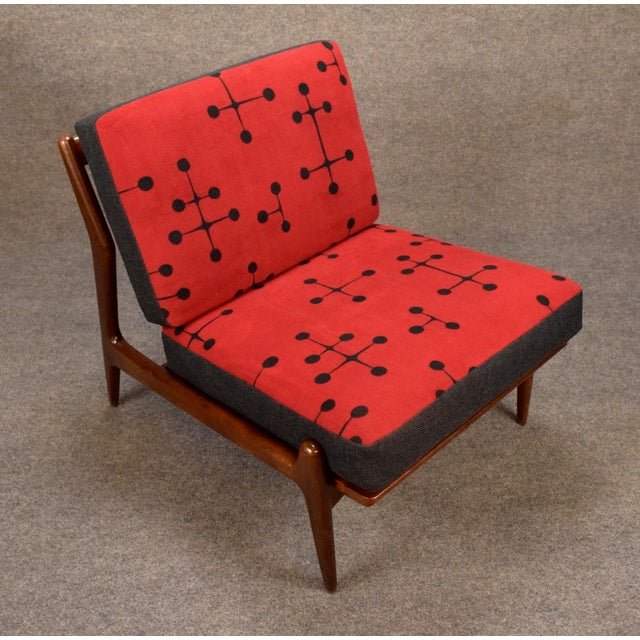1960s Mid Century Modern Kofod Larsen for Selig Red and Black Slipper Chair For Sale - Image 10 of 13