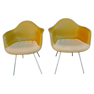 Charles Eames Bucket Chairs With Two-Tone Original Fabric - a Pair For Sale