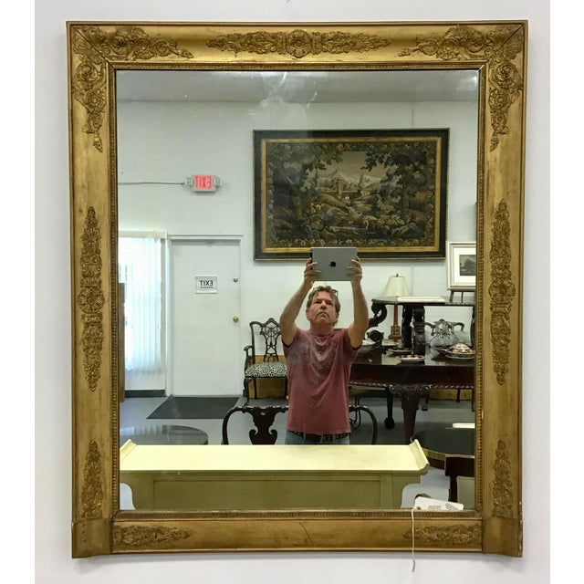 Gold French Empire Style Giltwood Mirror For Sale - Image 8 of 9