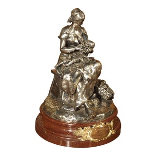 Antique Silvered Bronze on Marble by Steiner, France, 1894
