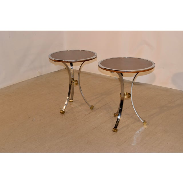 Mid-Century Mahogany and Chrome Side Tables - a Pair For Sale In Greensboro - Image 6 of 12
