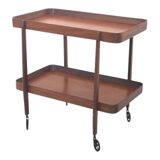 Mahogany Serving Cart, Italy, 1970s For Sale