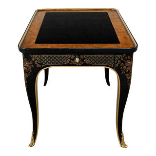 Drexel Heritage Et Cetera Collection Chinoiserie Black Painted & Burl & Ormolu End Table For Sale