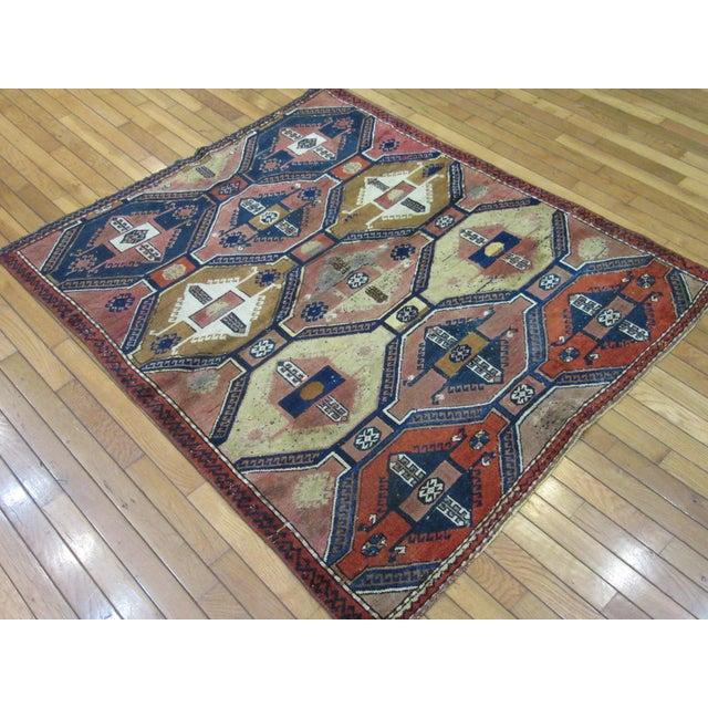 "Vintage Handmade Wool Turkish Anatolian Rug-4'3'x4'10"" For Sale - Image 9 of 10"