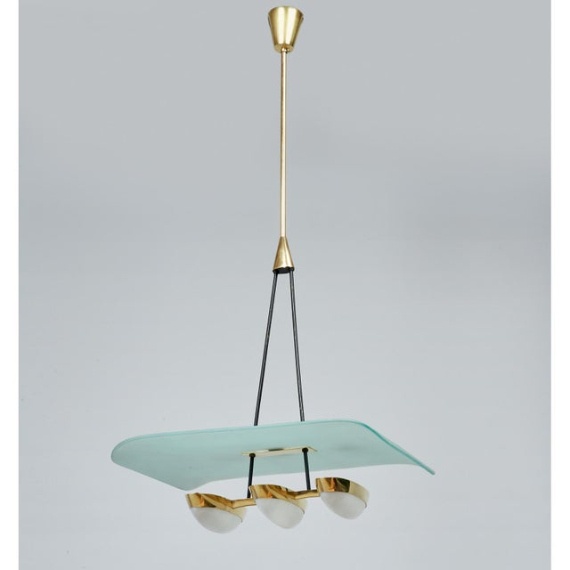 Angelo Lelii for Arredoluce Glass, Brass and Perspex Pendant Chandeliers, Italy 1950's - a Pair For Sale In New York - Image 6 of 10
