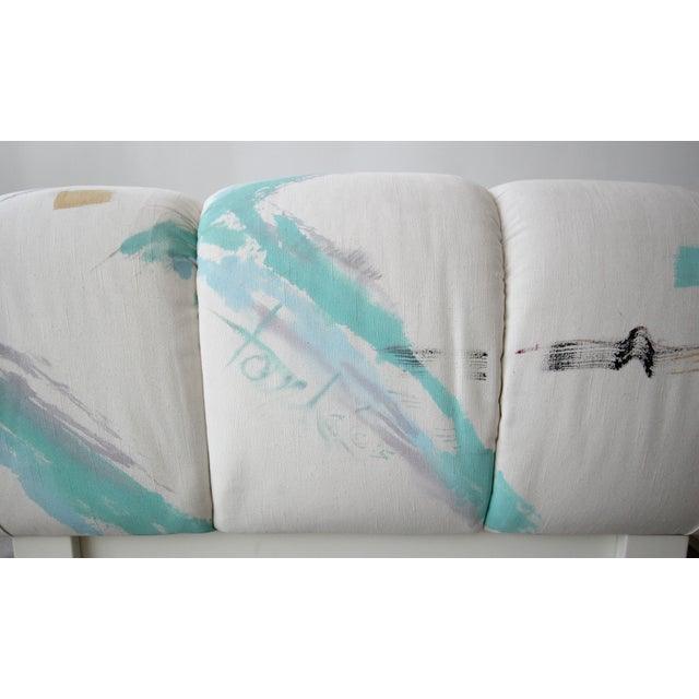 White Custom Post Modern Italian Style Pair of Slipper Chairs Artist Signed Fabric For Sale - Image 8 of 9