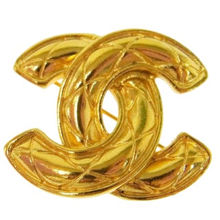 Chanel Vintage Gold Charm Cushion Evening Pin Brooch For Sale