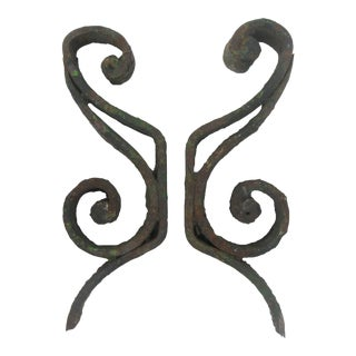 Rustic Iron Architectural Elements, Pair For Sale