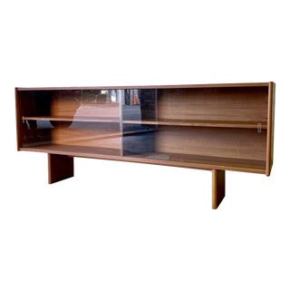 Long + Low Mid Century Modern Danish Teak Bookcase / Credenza For Sale