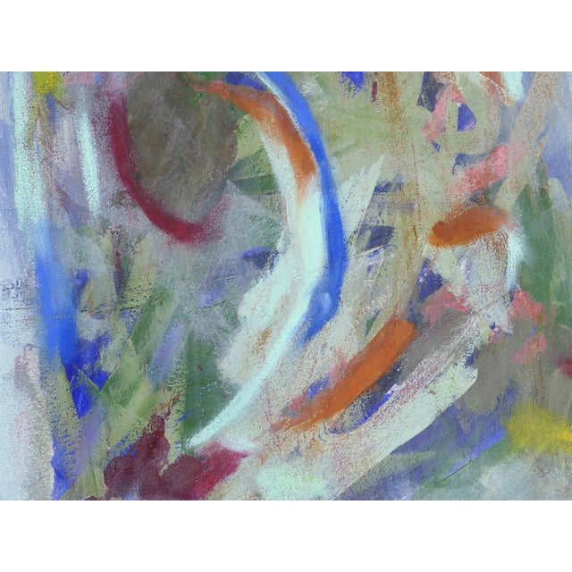 Blue Large Framed Abstract Diptych Signed Acrylic Painting on Paper Dated 2014 For Sale - Image 8 of 13