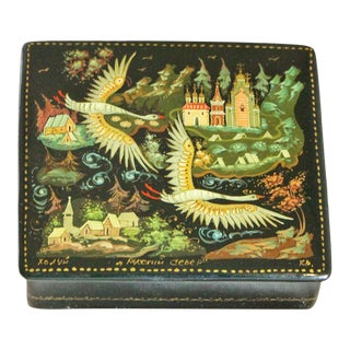 Russian Lacquer Box With Bird Scene For Sale