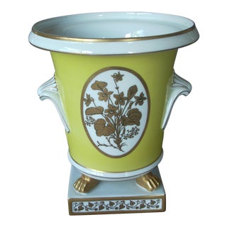 Yellow and Gold Footed Mottahedeh Cachepot or Planter For Sale