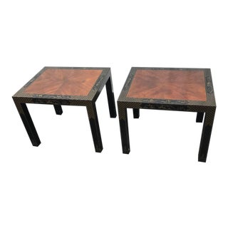 Drexel Heritage Etc Cetera Chinoiserie Parsons Tables a Pair For Sale