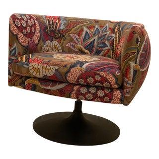 d'Urso Swivel Chair for Knoll in Schumacher Zanzibar Fabric For Sale